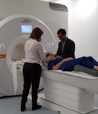 A research volunteer being scanned in the Centre's new, state of the art 7T scanner.